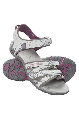 Mountain Warehouse Sandalias para Mujer Santorini - Correas Ajustables, Plantilla Acolchada, Suela de Goma - para Caminar, Playa, Viajar, Vacaciones Gris Claro Talla Zapatos Mujer 39 EU