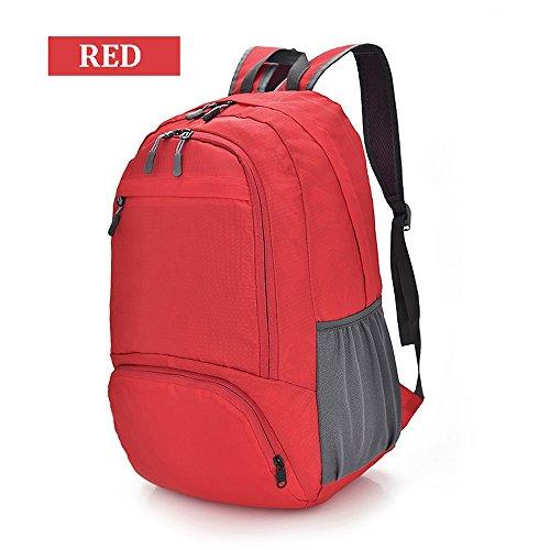 ZZG Sac d'alpinisme Pliable en Nylon imperméable à l'eau léger de Grande capacité Sac de Peau Hommes et Femmes en Plein air Sac d'étudiant de randonnée (Color : Rouge)
