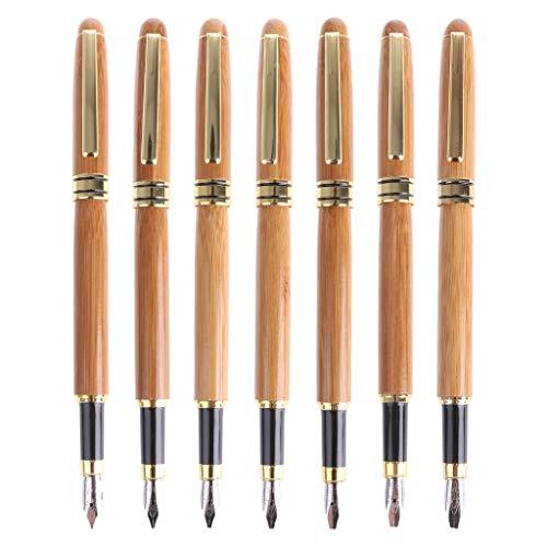 Eliky Bambus Kalligraphie Kunst Füllfederhalter Meißelspitze 0,7mm-3,0 mm Schreibwerkzeug (06)