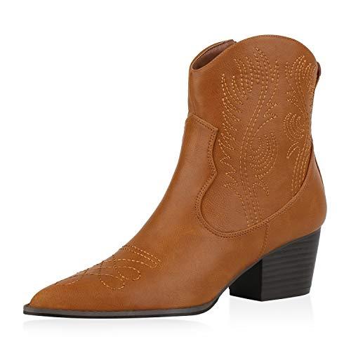 SCARPE VITA Damen Stiefeletten Leicht Gefütterte Cowboy Boots Stickereien Spitze Schuhe Holzoptikabsatz Booties 186038 Hellbraun 38