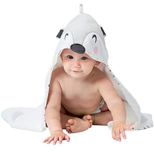 Asciugamano Neonati - 100% Spugna di Cotone Bio, Certificato OEKO TEX - Accappatoio neonato 70x70 cm, 0-12 Mesi - Grigio
