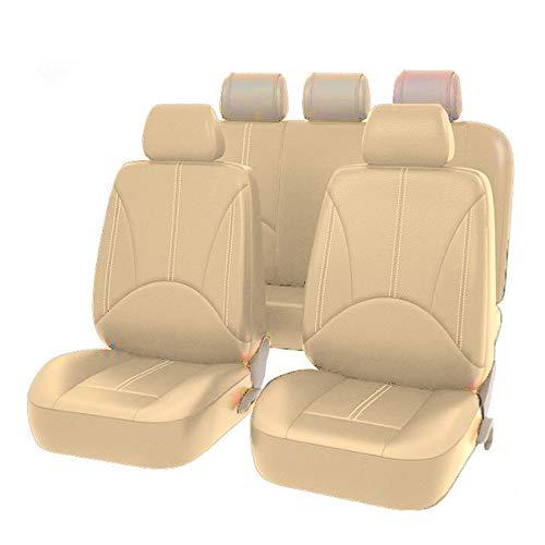 KKmoon Coprisedili per Auto in Pelle PU Universale, Coprisedile Anteriore e Posteriore per Auto, Protezione per Seggiolino Auto, Interni Auto, 9 Pezzi, Beige