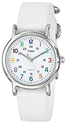 "Timex Women's T2N837 ""Weekender"" White Nylon Strap Watch with Multi-Color Numerals"