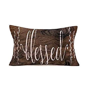 Doitely Blessed Letters Words Waist Lumbar Pillow Covers 12x20 Inches Inspirational Quote Rustic Wood Grain Background Cotton Linen Throw Pillow Case Cushion Cover for Sofa Home Decor  RO-11