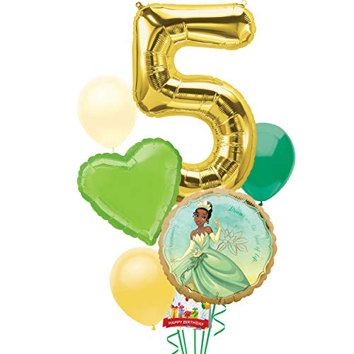Princess and the Frog Tiana Party Supplies Balloon Decoration Bouquet Bundle for 5th Birthday