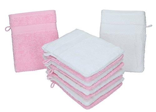 Betz Lot de 10 Gants de Toilette Palermo 100% Coton Taille 16x21 cm Couleur: Blanc & Rose
