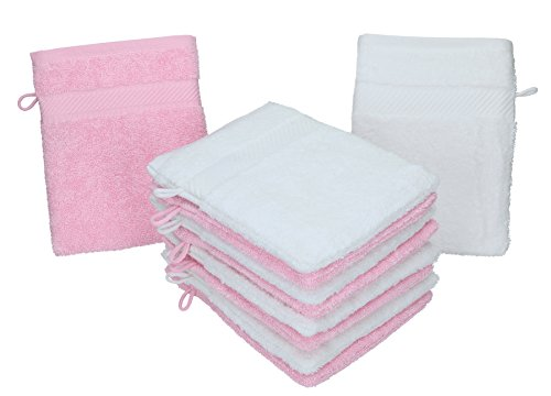 Betz 10 Stück Waschhandschuhe Palermo 100{167e468c762be27d0282715caa3ca63ced2fcec2aae929ae5e2c092f2ff3c5b5} Baumwolle Waschlappen Set Größe 16x21 cm Farbe weiß und rosé