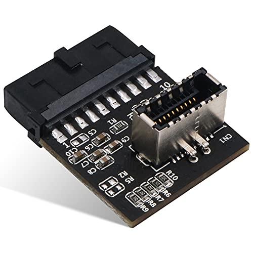 Joliy Adaptador de USB 3.0 a Tipo C USB 3.0 (3.1 Gen 2) Encabezado de Placa Base IDC de 20 Pines Interno a A-Key para Panel de Tipo C