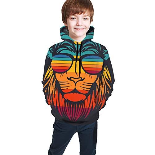 qingdaodeyangguo Lion Kids' Casual Pullover Hoodie Hoodies Hooded Sweatshirt for Teen Boys and Girls