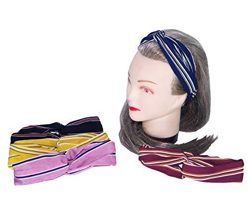 takestop Lot de 2 Bandeaux élastiques avec nœud noué et Dos en Tissu pour Cheveux Couleur aléatoire