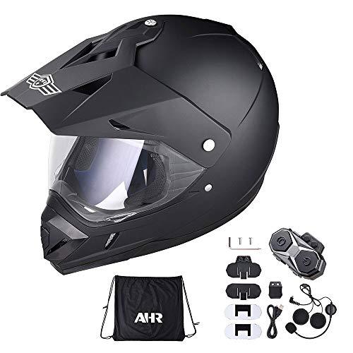 AHR DOT Dual Sport Motorcycle Sports Racing Helmet Full Face Bluetooth Headset M