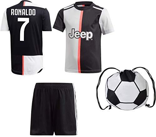 RMCF Cristiano Ronaldo #7 / Dybala #10 Home Youth Soccer Jersey Short Sleeve Shorts Kids Gift Set (YS 6-8 Years, Ronaldo)
