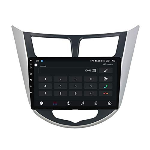 Coche Estéreo Vehículo GPS Adecuado para Hyundai Verna 2010-2016 Coche Estéreo SAT NAV Capacitivo Touch HD Carplay Radio Multimedia Multimedia Radio incorporado Tracker,Negro,8Core 4G+WIFI:2+32G