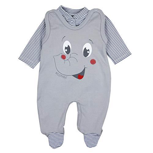 TupTam Baby Unisex Strampler-Set mit Aufdruck Spruch 2-TLG, Farbe: Elefant Grau, Größe: 74