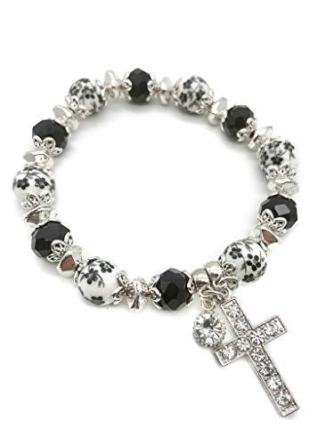 Nazareth Store Religious Cross Bracelet Christian Classic Beaded Bangle with Black Crystal Beads Sacred Gift for Teen Girls Jewelry for Women & Men