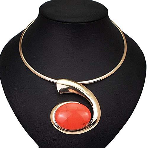 NC110 Gran Ovalado de Resina Colgante de Metal Torques Gargantilla Collar Mujeres Aleación Geométrica Collares Joyería de Moda YUAHJIGE