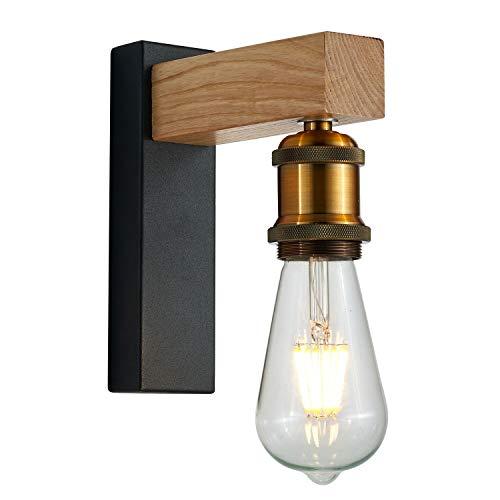 Martll Wandleuchte Innen Holz Vintage E27 Wandlampe aus Holz Wandbeleuchtung Retro Design Innenbeleuchtung für Flur Landhaus Schlafzimmer Wohnzimmer Esstisch (A)