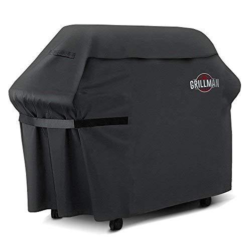 Grillman Premium BBQ Grillabdeckung Heavy Duty Gasgrill Abdeckung für Weber, Brinkmann, Char Broil etc. Reißfest, UV & Wasserfest (72 inch / 183 cm, Schwarz)