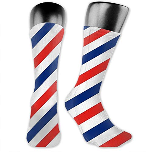Best Men's Novelty Crazy High Knee Boot Socks, Barber Colors Blue White Red Straight Lines Graphics Funny Patterned Dress Crew Socks, Elastic Stocking for Prom Office Running