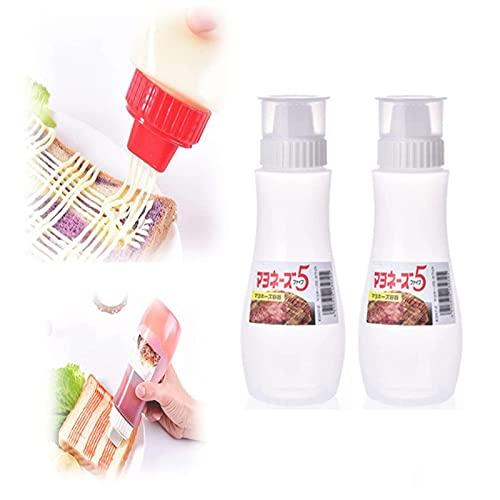 HJKLL Botella de aderezo de Ensalada porosa, Botella de aderezo de Ensalada Japonesa de 5 Orificios con Tapas de Polvo, dispensador de condimentos, para Salsas, Pintura, Aceite 2pc