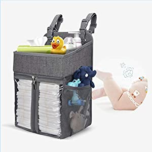 BAGLHER Hanging Diaper Organizer,Baby Diaper Organizer is Suitable for Hanging on Diaper Table, Nursery, and All Cribs. Baby Supplies Storage Diaper Rack, Diaper Stacker.Gray