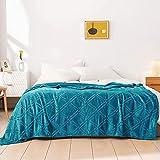HT&PJ Fleece Throw Blanket Super Soft Lightweight Flannel Microfiber Velvet Cozy Warm Throw Blanket for Living Room (Turquoise Blue,(Throw50 X 60') )