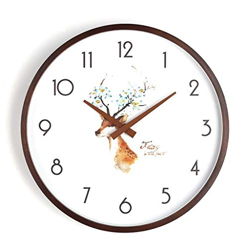 ZQQBRZXFT Cuarzo de Pared Silencioso Reloj De Madera Reloj Redondo Sala De Estar Dormitorio Silencioso Reloj De Pared Puntero De Madera Barrido Movimiento,10/12 /14/16 Pulgadas