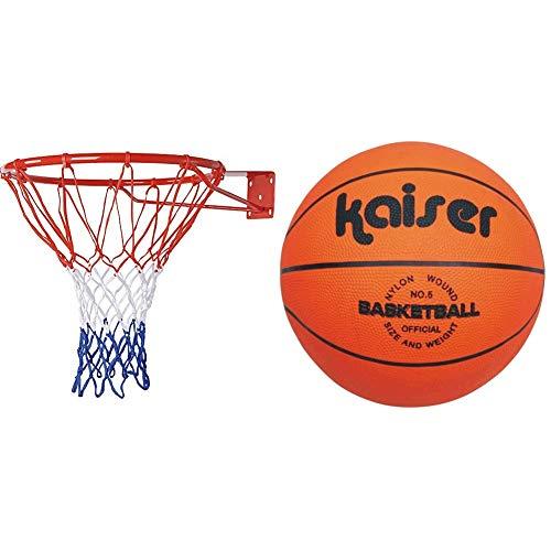 Kaiser(カイザー) バスケット ゴール セット KW-649 リング内径42cm 壁設置 自作ボード レジャー ファミリースポーツ & キャンパス バスケット ボール 5号 KW-492 ボールネット付 小学生用 練習用 レジャー ファミリースポーツ