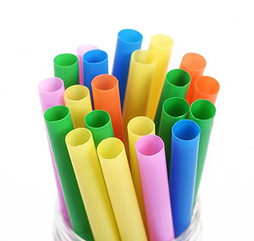 Chytaii 100x Pailles pour Boisson Thé au Lait Milk-Shake Smoothie en Plastique Ustensile de Bar Party Jetable Multicolor 1 cm