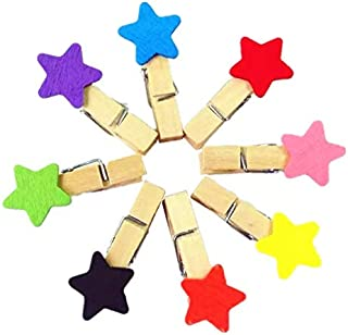 Rack Jack Stars Wooden Photo Paper Clips (Set of 10) - Multicolour