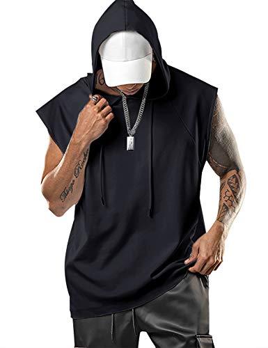 Aixdir Hooded Tank Tops Men Gym Tank Tops Sleeveless Hoodie Workout Shirt Black, Large