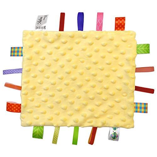 Bebe Manta Confort con Etiqueta Doudou Manta de seguridad para Bebés Mantitas de Arrullo, Manta con Cintas Juguete para la Dentición del Bebé - Amarillo