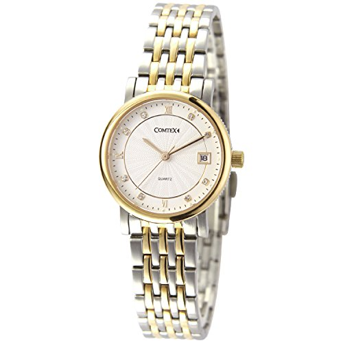 Comtex Damen-Armbanduhr aus Edelstahl, vergoldet, mit Kristalldiamanten