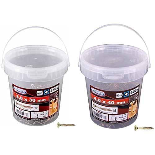 Con:P B30041 - Tornillo Para Madera (Tamaño: 3.5X30Mm, Pack De 850) + B30042 - Tornillo Para Madera (Tamaño: 4X40Mm, Pack De 500)