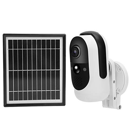 FOLOSAFENAR Detección de Movimiento CCTV 1080P WiFi 3.3W Panel Solar Cámara WiFi a Prueba de Lluvia Detección Inteligente de Movimiento, para vigilancia del hogar
