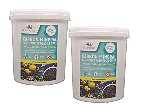 Naturonia Carbon Activado Mineral Acuario, Pellet 4mm, 2L (1000g) para acuarios y estanques