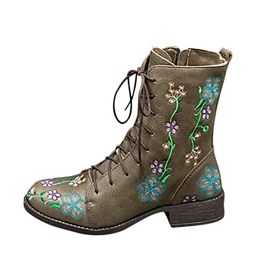 Stivali Donna Boot Bikers Boots Stivaletti Stivali Donna Moda Casual Tacchi Quadrati Scarpe Lunghe alla Caviglia (39,Verde)