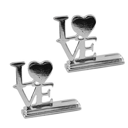 Amosfun 5pcs Porte Cartes Clip Photo Forme de Coeur Love en Métal Titulaire Porte Mémo Pince Porte Nom Mariage Argent
