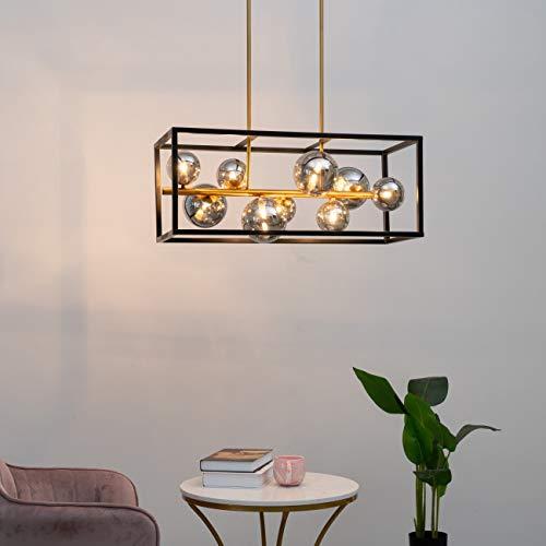 KOSILUM - Suspension grande cage à sphères verre fumé - Qez - Lumière Blanc Chaud Eclairage Salon Chambre Cuisine Couloir - 7 x 25W - - G9 - IP20