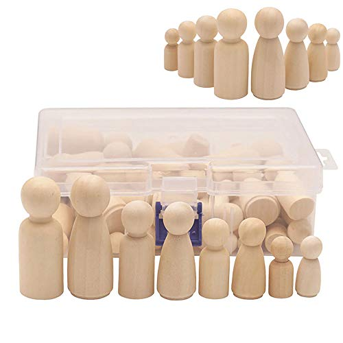 Keledz 50 Pack Unfinished Wooden Peg Dolls, Peg People, Doll Bodies, Wooden Figures, Decorative Peg Doll People for Kids DIY Art Craft, Painting, Peg Game, Home Party Decor, Assorted Shapes and Sizes