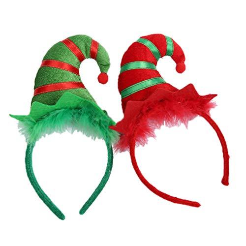 Amosfun - 2 diademas de elfos para la cabeza, gorro de Papá Noel, accesorio para disfraz de Navidad (rojo + verde)