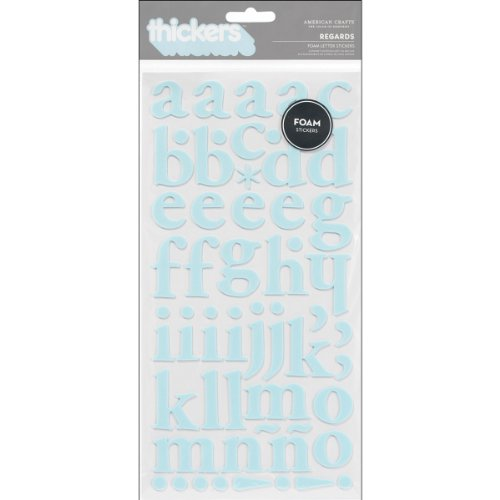 American Crafts Thickers Foam Stickers Sheet, 6 by 11-Inch, Regards, Powder