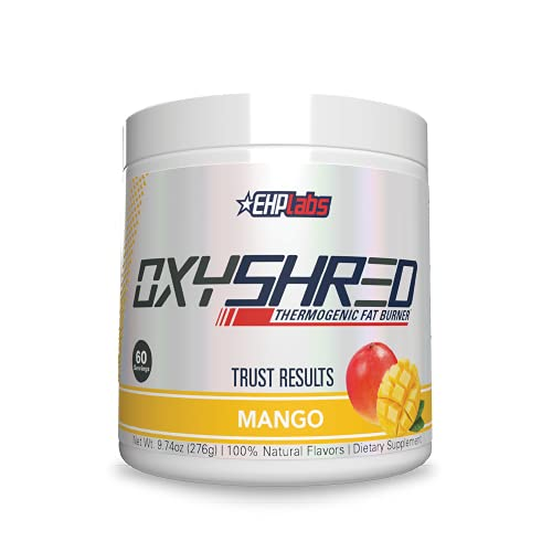 OxyShred Thermogenic Fat Burner by EHPlabs - Weight Loss Supplement, Energy Booster, Pre-Workout, Metabolism Booster (Mango)