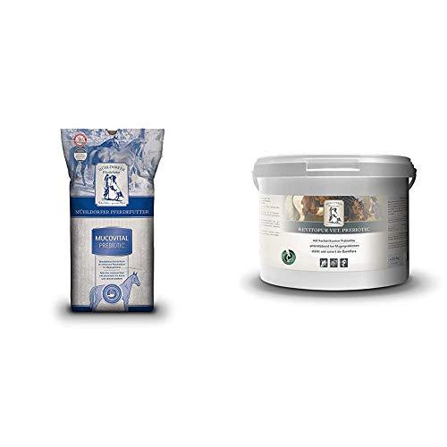 Mühldorfer Mucovital prebiotic, 20 kg, Pferdefutter ohne Getreidestärke, vollwertig & Revitopur prebiotic, 2,5 kg, revitalisiert die Darmflora, unterstützt bei Koliken und Kotwasser, Ergänzungsfutter