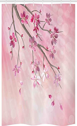 ABAKUHAUS Rosa Schmaler Duschvorhang, AST mit Blumen, Badezimmer Deko Set aus Stoff mit Haken, 120 x 180 cm, Rosa Fuchsie
