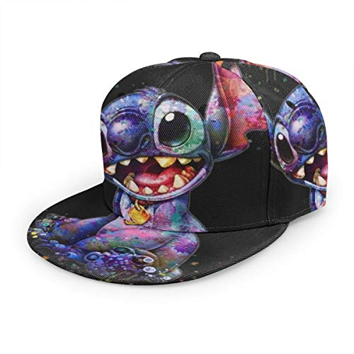 WXPENG Cartoon Lilo Stitch Baseball Cap,Men Solid Flat Bill Adjustable Snapback Hats Unisex,Perfect for Running Workouts and Outdoor Activities Black