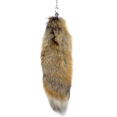 URSFUR Echte Golden Island Fox Schwanz Naturfarben Fashion Schwanz Zubehör Taschenanhänger Fellschweif Anhänger ca.42-25cm