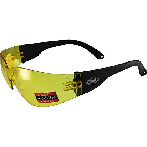 Global Vision Rider Z87.1 - Gafas de sol de seguridad para motocicleta, montura negra, lente amarilla