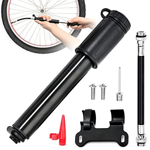 Bomba de bicicleta portátil, de alta presión, para bicicleta de carretera y Presta y Schrader, inflado rápido de neumáticos, adaptador de agujas de bola incluido, para baloncesto, fútbol