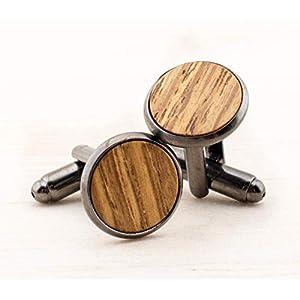 Echtholz Manschettenknöpfe hell Herren Schmuck zur rustikalen Landhochzeit Geschenk für Männer Eiche Holz Handgemacht…